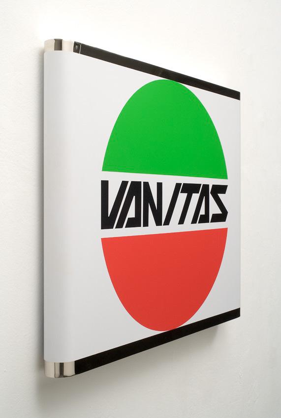 Michele Chiossi VANITAS,  2006  PVC adesivo su ottone nikelato  Laverda post produzione logo sticker