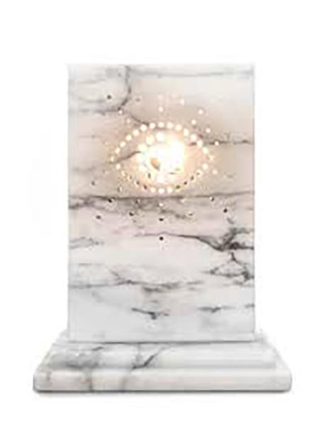 Michele Chiossi Guillame's eye, 2017 marmo Carrara, acciaio, candela dot fori buchi luce reverie occhio scultura