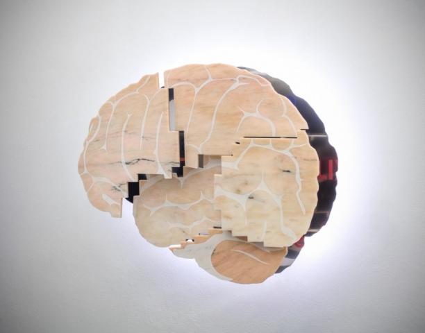Michele Chiossi Cerebri Anatome, 2018  marmo rosa Portogallo, acciaio, stickers PVC, LED  150x100x20 cm FAANG scultura