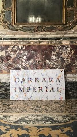 Michele Chiossi CARRARA IMPERIAL -targa-, 2019  marmo statuario, incisione in silver, cera, pigmenti colorati  Classicità tributo Salvo Natura Morta Still Life candela gocce Dionisiaco