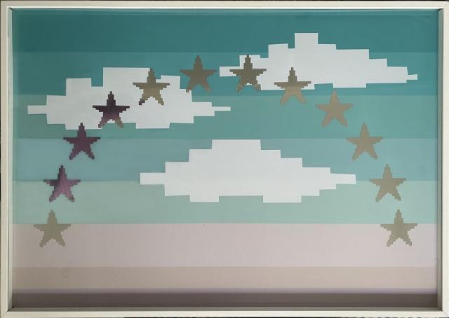Michele Chiossi Immaculate sky, 2006 smalti, pic sticker, poliestere dipinto quadro cielo stelle zigzag pixel videogame immacolata concezione assunta stellare stellato nuvole
