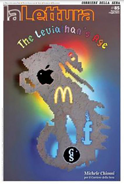 Michele Chiossi scultura Il Leviatano marmo neon Facebook Mac Donald Apple Google copertina La Lettura Corriere della Sera scultore artista
