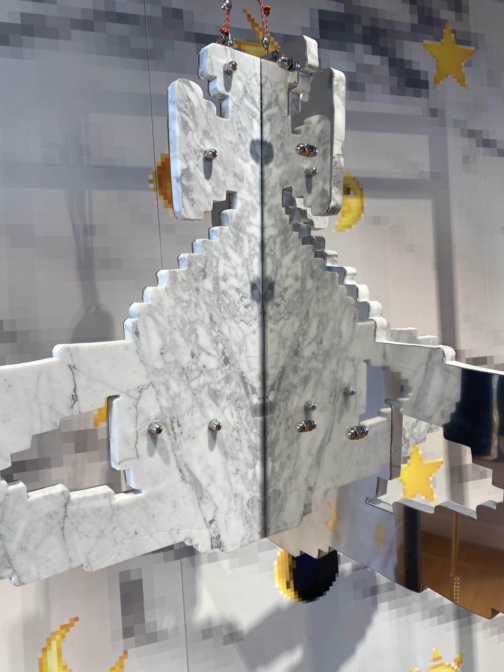 ORBITAL, 2021 installation view, @ Vivienne Westwood boutique Milano Michele Chiossi marmo marble sculpture scultura orb fashion week design contemporary art wallpaper mobile emoji stars sun moon Creativespace zigzag mc zigzag pixel