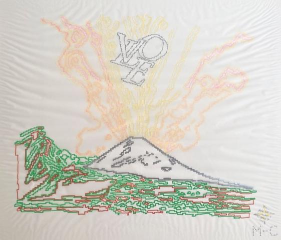 Michele Chiossi Wharol LOVE, evidenziatori, pigmenti d'argento, pennarelli, carta da lucido disegno Napoli Capri Andy Warhol Vesuvio vulcano eruzione orgasmo zigzag pixel videogame Louis Vuitton