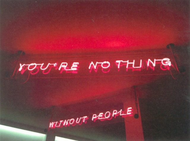 WITHOUT PEOPLE YOU'RE NOTHING -Strummer's will-, 2017 neon, acciaio, plexiglass, marmo black China Michele Chiossi scultura installazione omaggio Joe Strummer punk insegna propaganda motto the clash