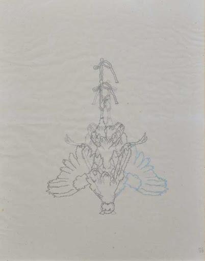 Michele Chiossi disegno il salto della quaglia, 1999 penna biro, inchiostro neon riflettente, Japanese silk paper A3 natura morta still life cacciagione quaglia fagiano zigzag pixel videogame
