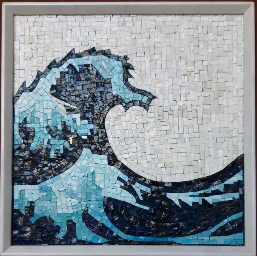 🌊La Grande Onda, 2016 marmo, mosaico 50x50x5cm Michele Chiossi Hokusai Giappone tsunami acqua 💦 💧 emoji emoticon simbolo