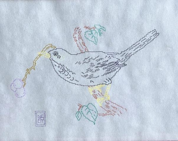 Notturno Indiano merlo indiano, 2001 pennarelli con inchiostro neon riflettente, pergamena A4 disegno zigzag pixel videogame Michele Chiossi Antonio Tabucchi still life Natura Morta